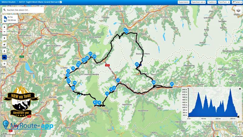 NRW on Tour Aostatal Alpin Tour Map Tag 3