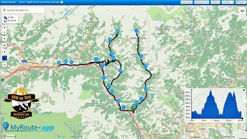 NRW on Tour Aostatal Alpin Tour Map Tag 4